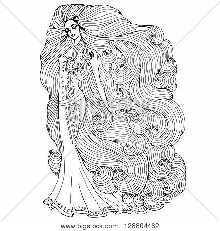 Vector hand drawn princess young girl with long wavy hair in a long historical dress. Princess Rapunzel. Mystical Fairy sea nymph. Magic mysterious character from fairy tales. Coloring page.