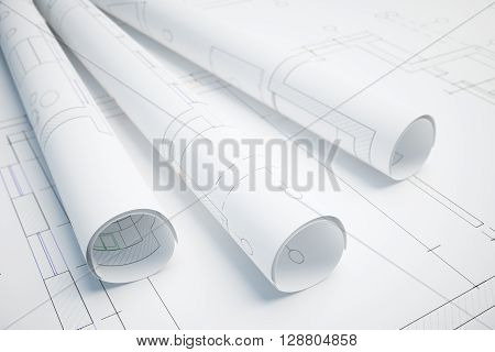 Paper rolls with architectural plan. 3D Rendering