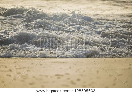 Crashing foamy wave on a shore during sunset with soft light