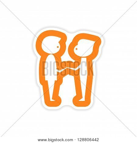 paper sticker on white background groom with friend