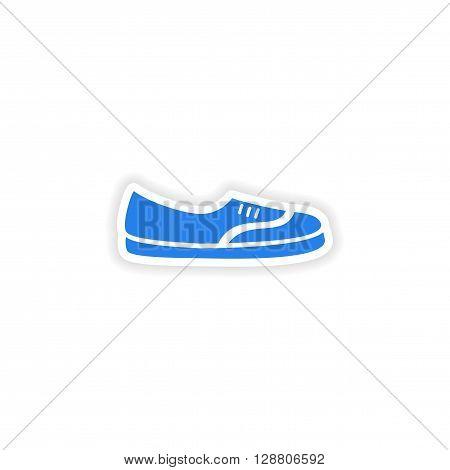 stylish paper sticker on white background moccasins