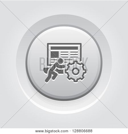 Technical Support Icon. Business Concept. Grey Button Design