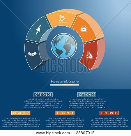 Template infographics business concept coloured parts semicircle and globe numbered for five positions options parts or processes. 3D vector illustration.