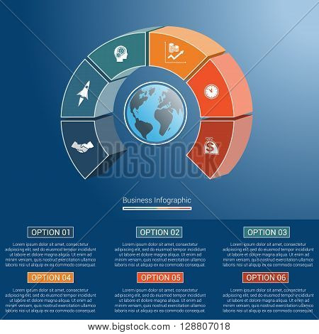 Template infographics business concept coloured parts semicircle and globe numbered for six positions options parts or processes. 3D vector illustration.