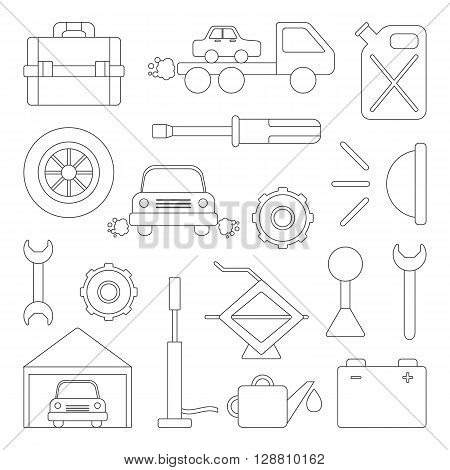 Vector car repair icons. Cartoon outline objects for car repair design. Car service or garage concept. Equipment tools objects for break car work. Vector outline cartoon car repair illustration