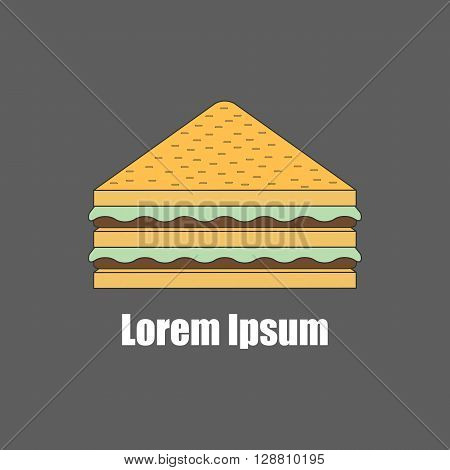 Vector illustration with isolated flat line sandwich. Catering fast food cafe or restaurant concept. American cuisine. Vector logo for catering delivery of fast food shop. Outline flat sandwich