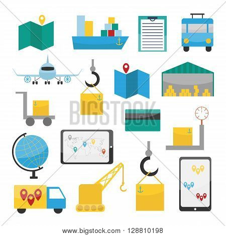 Vector illustration with logistic delivery flat icons. Vector logistic service concept. Truck checklist plane globe map ship warehouse. Illustration with logistic fast delivery objects