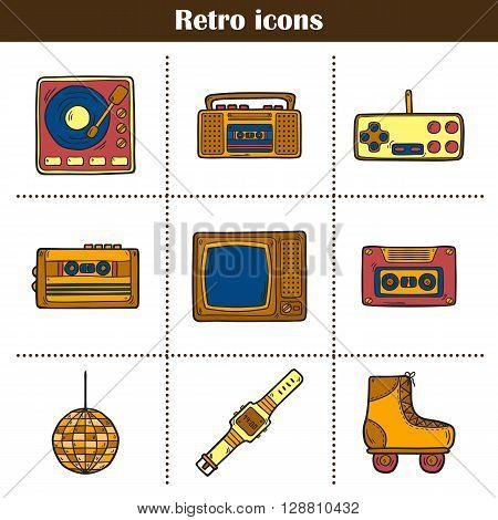 Set of hand drawn cartoon retro icons