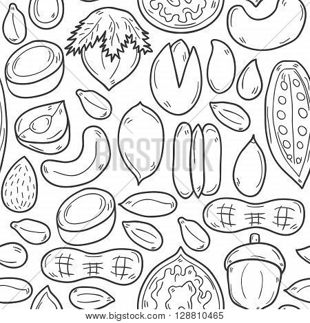 Seamless background with cartoon hand drawn nuts: hazelnut pumpkin and sunflower seeds peanut. Raw healthy food concept. Cartoon vegan food illustration. Source of natural oils protein