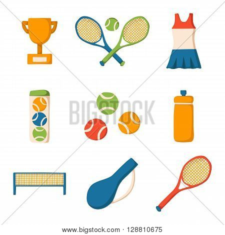 Set of cartoon tennis icon: court tennis racket cup bottle ball. Tennis championship concept. Vector tennis icons for sports design. Outdoor sport activity concept. Tennis competition cartoon icons