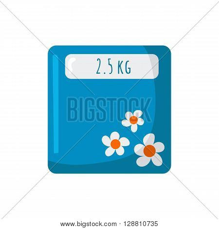 Vector illustration with cartoon kitchen scales. Weight loss or healthy diet lifestyle concept. Measure products weight with kitchen scale without bowl. Cartoon indoor house kitchen appliances design