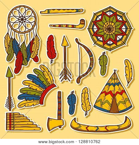 Set of cartoon hand drawn stickers on native american theme: tomahawk feather canoe bow arrow hat mandala flute pipe dreamcatcher. Native american concept for your design