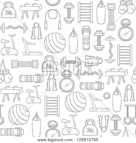 Seamless gym equipment background with cartoon objects. Sport healthy life concept. Fitness equipment design. Fitness club hotel gym background. Vector cartoon indoor gym fitness equipment.