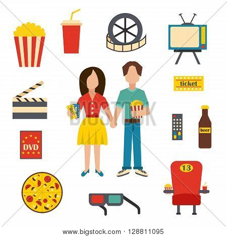 Vector illustration with cartoon objects on cinema time theme. Vector characters popcorn soda pizza 3d glasses beer cinema chair. Cartoon concept for cinema time or movie design