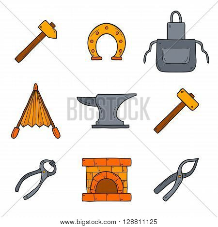 Set of cartoon icons in hand drawn style on blacksmith theme: horseshoe sledgehammer vise oven for your design