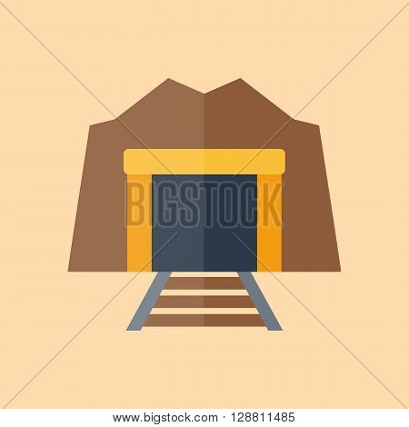 Vector illustration with flat cartoon tunnel enter with railway. Industrial old tunnel. Vector background logo with railroad. Dark entrance and perspective railway. Illustration with isolated tunnel