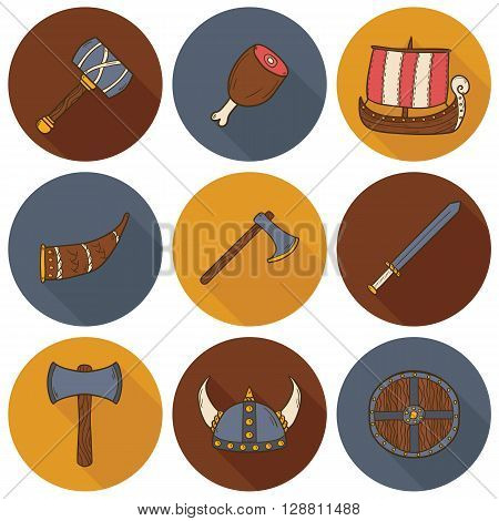 Illustration with cartoon hand drawn viking icons: ship horn helmet shield meat hammer. Viking culture objects. Cartoon medieval scandinavian design