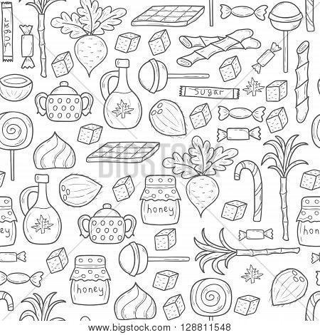 Seamless background on sugar type theme with hand drawn cartoon objects