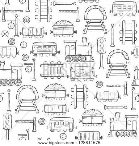 Seamless background with hand drawn railroad objects: wagons semaphore railway station clock locomotive barrier tunnel. Transport shipping delivery or travel concept for your design