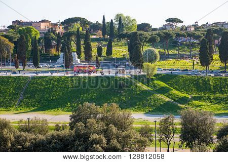 ROME, ITALY - APRIL 8, 2016: View at Rome from Palantine Hill.