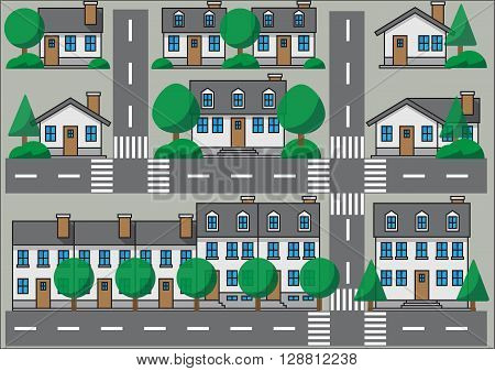 Collection of simplicity suburb houses. Vector illustration eps 10.