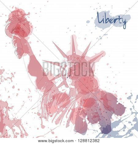 Festive art design for fourth of July Independence Day USA with symbol of America: Statue of Liberty with ink and watercolor elements. Patriotic series, main celebration of USA. Artistic painting