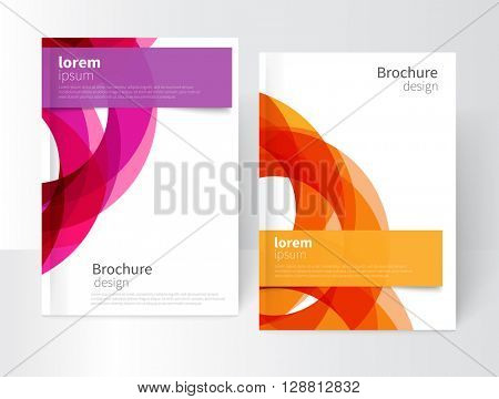 Vector Abstract Business Brochure, Annual Report, Leaflet Cover Template. Geometric abstract background yellow and purple circles intersecting. concept catalouge design. EPS 10
