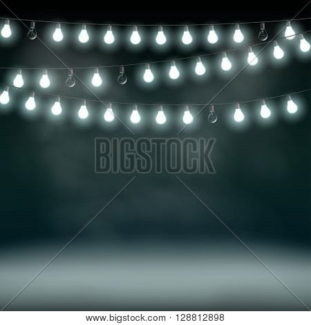 Garlands with bulbs on a dark background. Glowing lights. Stock vector illustration.