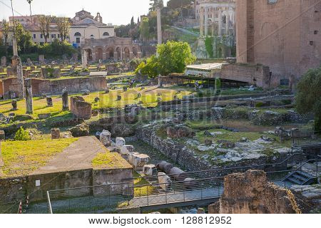 ROME, ITALY - APRIL 8, 2016: Senate and  Roman's forum with ruins of important ancient government buildings started 7th century BC and  Altar of the Fatherland (Altare della Patria) at the background