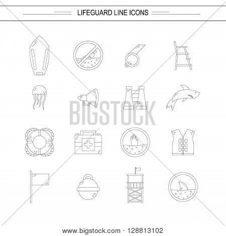 Vector flat line beach lifeguard beach objects: buoy shark medusa lifebuoy life vest whistle. Line vector lifeguard icons. Emergence survival security beach nautical objects. Summer line icons
