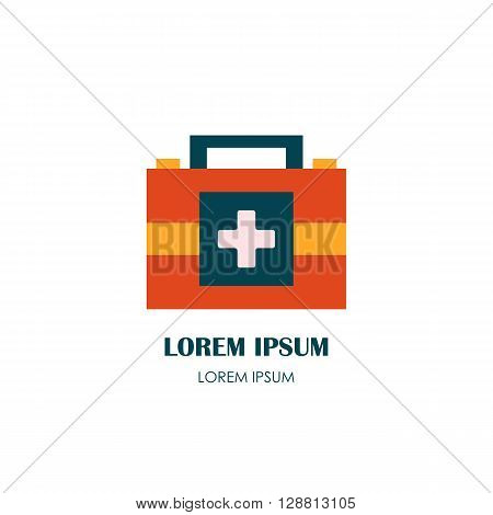 Vector flat cartoon illustration with red isolated medicine chest. First aid vector box. Emergency lifeguard medicine equipment. Ambulance medicine chest. Vector logo or emblem medication design