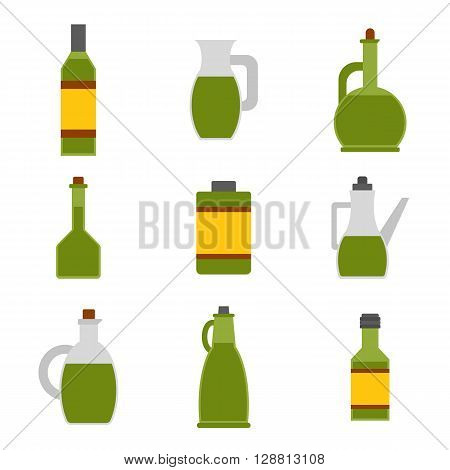 Vector illustration with flat cartoon olive oil bottles. Italy Greece mediterranean cuisine. Extra virgin olive oil. Vector flat icons. Organic natural healthy oil. Olive bottle icon for food design