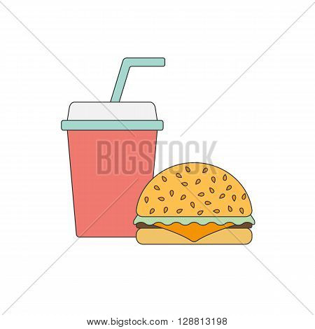 American food or meals concept. Fast food cafe or restaurant. Flat line objects: burger soda. Junk unhealthy food. Obesity concept for flat infographics. American cuisine background