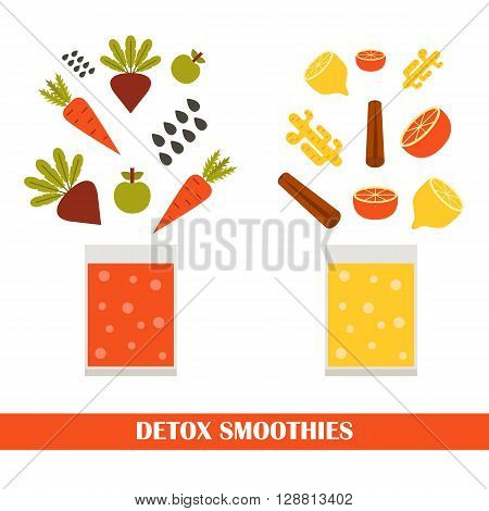 Vector illustration with ingredients for making detox smoothies. Cartoon vector flat vegetables fruits chia seeds ginger. Organic vitamin diet detox smoothies. Make your own healthy vegan smoothie.