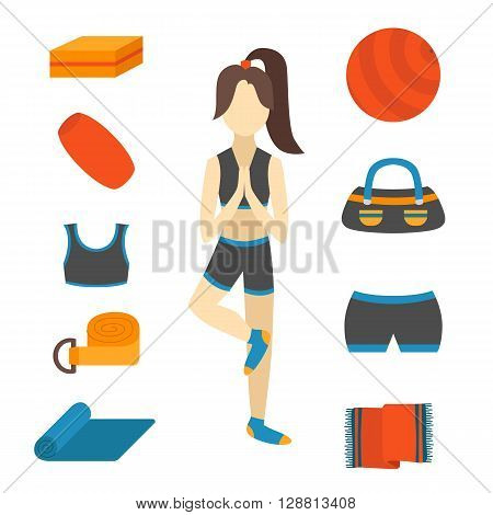 Vector illustration with cartoon woman character in yoga tree pose and flat yoga equipment: fitness ball yoga mat block rubber towel. Healthy active lifestyle concept. Fitness pilates equipment