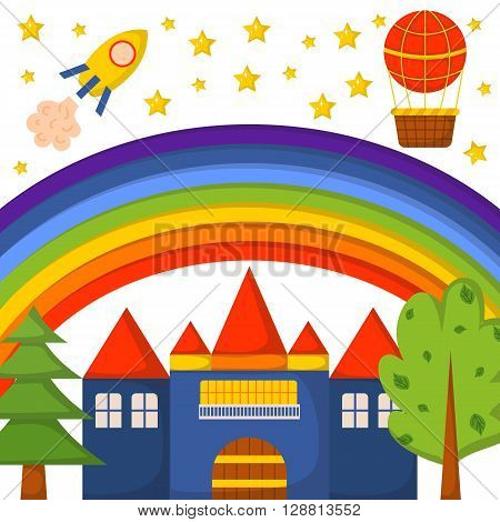 Vector illustration with cute colorful cartoon fantasy world: rocket castle trees rainbow stars. Children book cartoon cover or illustration. Vector background. Fantasy dream world pattern
