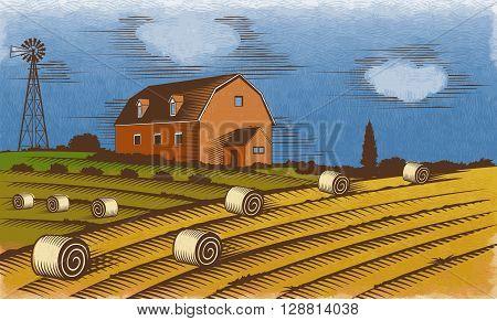 Farm landscape. Stylized engraved color vector illustration.