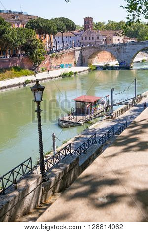 ROME, ITALY - APRIL 8, 2016:  Ponte Garibaldi bridge view at sunny day