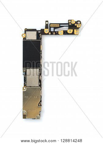 Top view of smart phone circuit board isolate on white background