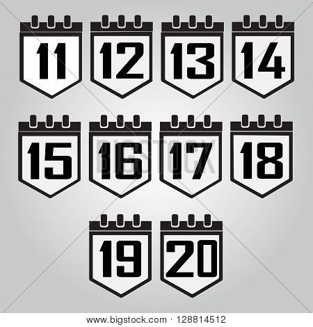 Calendar icon number 11 to 20 vector illustration