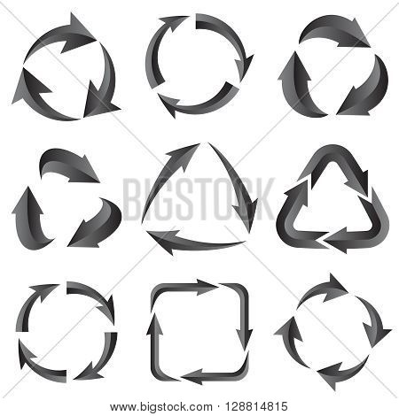 9 of gray arrows pictogram refresh reload rotation loop sign set. Vector illustration for design on white background