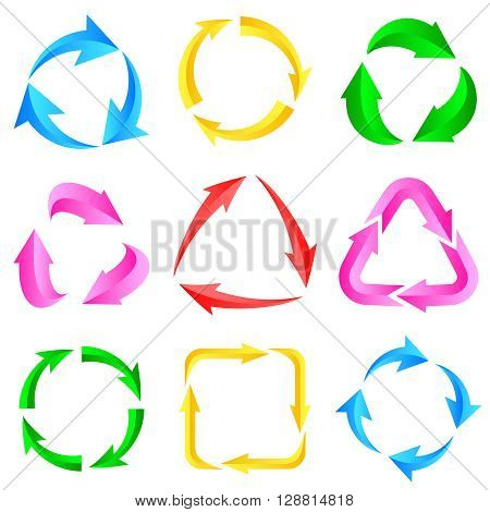 9 of color arrows pictogram refresh reload rotation loop sign set.Vector illustration for design on white background.
