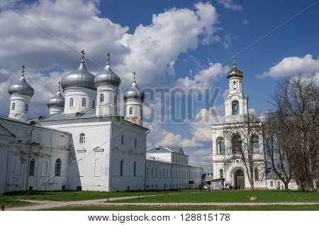Veliky Novgorod, Russia - May 3, 2016: Saviour Cathedral and bell tower Russian orthodox Yuriev Monastery in Great Novgorod (Veliky Novgorod.) Russia