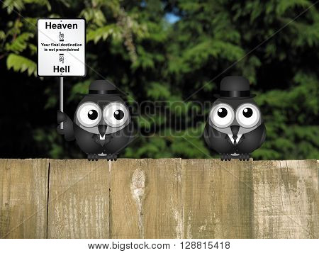 Bird vicar with destination heaven or hell sign and worried businessman perched on a wooden fence