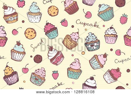 Seamless pattern with cupcakes, biscuits and berries