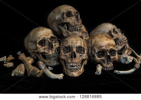 Still life photography with group of human skulls and bones in genocide concept
