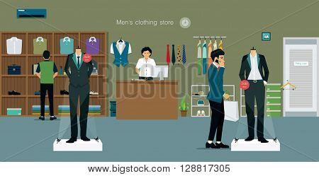 Men's clothing store with salespeople and customers.