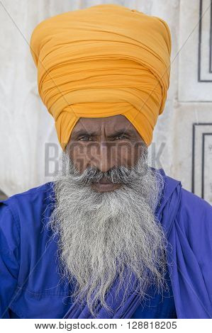 Portrait indian sikh man in turban with bushy beard. Amritsar India. Close up