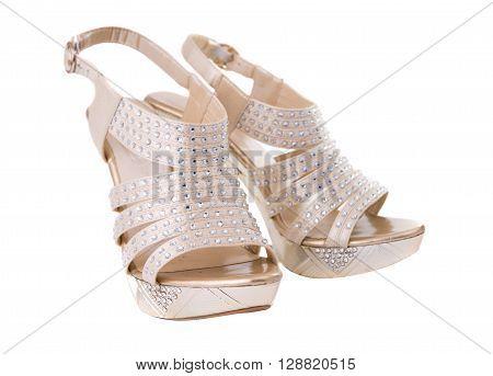 woman shoe in white backgrounde, stylish, sandal,