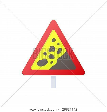 Falling rocks warning traffic sign icon in cartoon style on a white background
